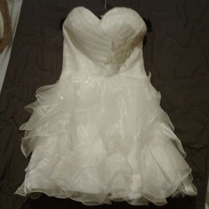 White Straples Formal Short Dress